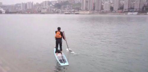 """Китайский служащий переплывает реку Янзцы на доске для сёрфинга, сократив дорогу на работу с часа до 6 минут (фото + видео)"""">"""