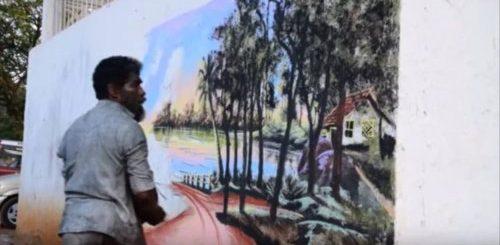 """Индийский бездомный уличный художник украшает бетонные стены потрясающими рисунками, используя листья, грязь и натуральные пигменты (2 фото + 3 видео)"""">"""