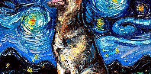"""Художница пишет портреты собак в стиле """"Звёздной ночи"""" Ван Гога (20 фото)"""">"""