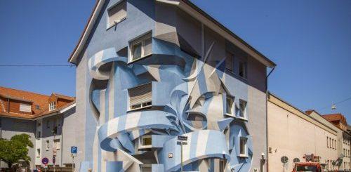 """Итальянский художник сочетает граффити с абстрактными формами, создавая настенные рисунки с оптической иллюзией (8 фото)"""">"""