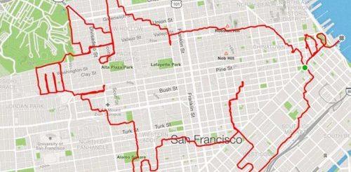 """Рисунки бегом: парень из Сан-Франциско бегает по заранее разработанным маршрутам, создавая с помощью GPS различные рисунки (19 фото)"""">"""