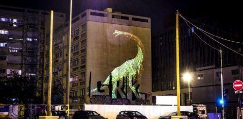 """Огромные голографические динозавры на улицах Парижа (7 фото)"""">"""