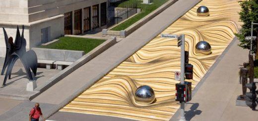 """Крупномасштабный уличный рисунок """"Движущиеся дюны"""" искажает улицу в Монреале (11 фото)"""