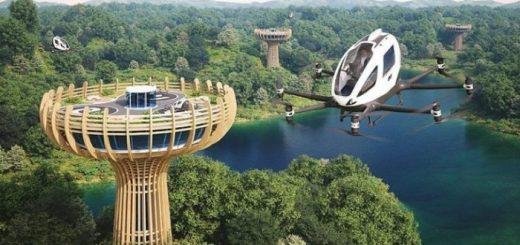 Новый проект эко-башни для летающего такси