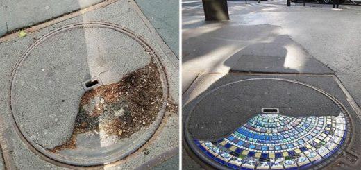 Необычный стрит-арт: Керамическая мозаика для ремонта тротуаров, выбоин и зданий в Лионе